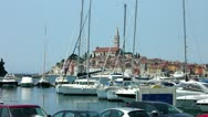 Stock Video Footage of Boats moored in the harbor marina at Rovinj Croatia