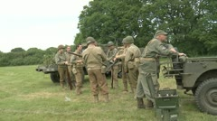 World War 2 American Soldiers standing around before combat Stock Footage