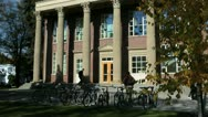 Stock Video Footage of University building and bike rack