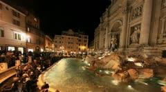 4K+HD Rome: Fontana di Trevi time lapse night timelapse Stock Footage