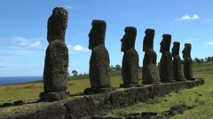 Easter Island Ahu Akivi backs with patch of ocean 2a Stock Footage