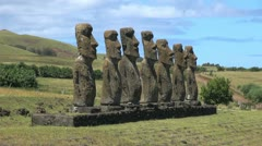 Easter Island Ahu Akivi closely spaced profile 6c Stock Footage