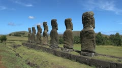 Easter Island Ahu Akivi back view of moai 5b Stock Footage