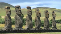 Easter Island Ahu Akivi statues and round hills 12b Stock Footage