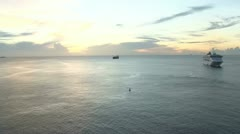 Grenada Caribbean sunset with cruise ship. Stock Footage