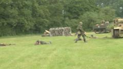 German troops shot on the battlefield Stock Footage