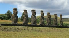 Easter Island Ahu Akivi seven moai on patterned base 15c Stock Footage