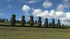 Easter Island Ahu Akivi seven moai clouds pass timelapse 16 Stock Footage