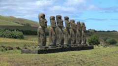 Easter Island Ahu Akivi with hikers 6 Stock Footage