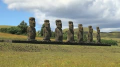 Easter Island Ahu Akivi moai row zoom out 15a Stock Footage