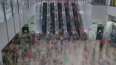 Busy Escalator Stock Footage