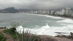 Stock Video Footage of Rio de Janeiro beach and waves