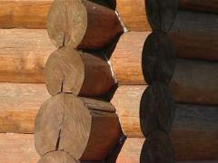 Wooden log house corner Stock Footage