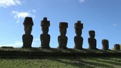 Easter Island Anakena Ahu Nau Nau various hats silhouette 4b Stock Footage