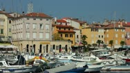 Stock Video Footage of Fishing boats moored in the harbor at Rovinj Croatia