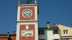 Clock tower in the centre of Rovinj Croatia Stock Footage