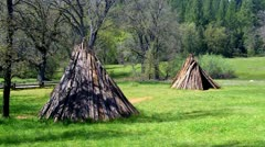 Miwok Indian Village Re-creation Teepee Huts 1 Stock Footage