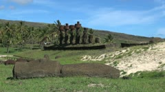 Easter Island Anakena Ahu Nau Nau behind fallen moai 14 Stock Footage