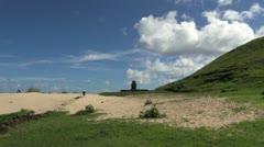 Easter Island Anakena Ahu Ature Huke lone moai over sand 13a Stock Footage