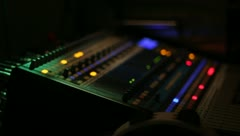 Soundboard side view shallow DOF low lighting LEDs Stock Footage