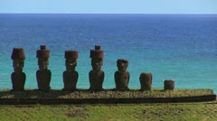 Easter Island Anakena Ahu Nau Nau against sea 2a Stock Footage
