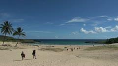 Rapa Nui Anakena morning beach s23 Stock Footage