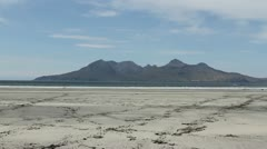 Isle of Rum viewed from Bay of Laig Eigg Scotland Stock Footage