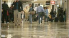 Busy Airport Terminal, soft-focus Stock Footage