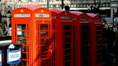 Phone Booth London at Charing Cross Stock Footage