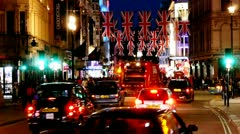 London Traffic Night Stock Footage