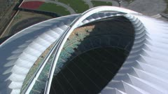 Aerial looking down into Moses Mabhida stadium Stock Footage