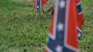Stock Video Footage of Confederate flags with graves (Sequence)