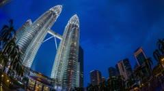 Petronas Towers, Kuala Lumpur, Malaysia Stock Footage