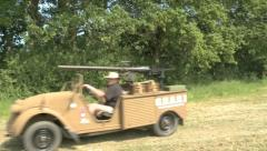German Army armed desert jeep Stock Footage