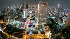 Bangkok City View time lapse (fisheye) in Thailand - stock footage