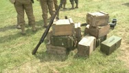 US Army ammunition and supplies on the battlefield Stock Footage