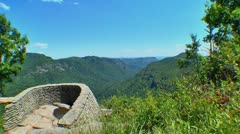 mountain gorge and lookout fisheye lens - stock footage