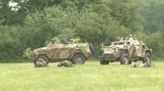 German armored vehicles on the battlefield - stock footage