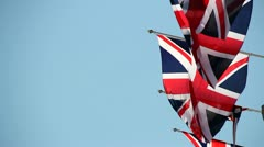 Union Jack Blowing in the wind 2 Stock Footage