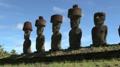 Pääsiäissaari Anakena ahu Nau Nau viisi moai hatut 19 Arkistovideo