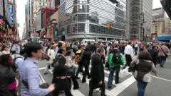 Crowd Walking Intersection New York City fast timelapse people commuters Stock Footage