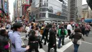 Stock Video Footage of Crowd Walking Intersection New York City fast timelapse people commuters