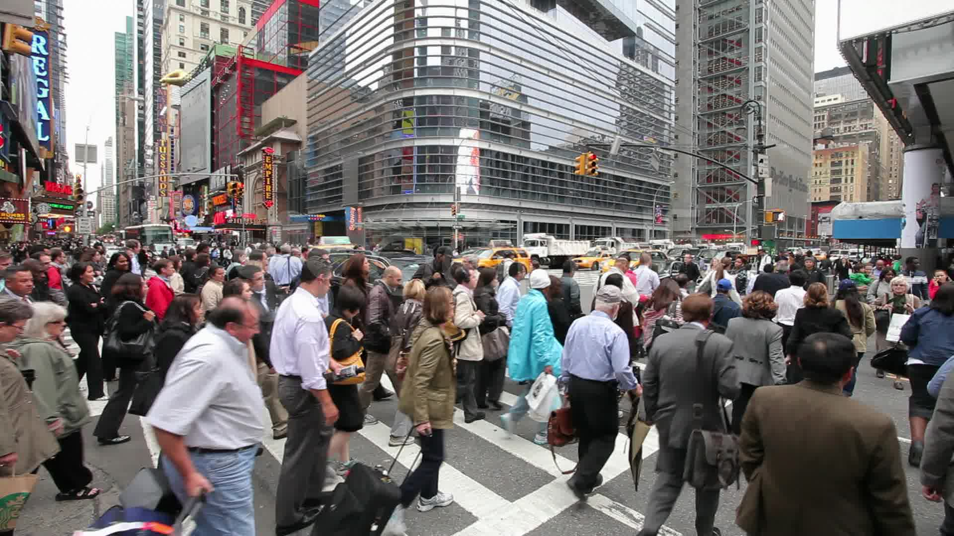Crowd of People Walking on Busy City Street at Rush Hour ...  |Person Walking City