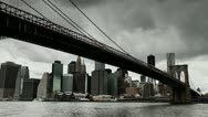 Stock Video Footage of Dark clouds moving in over New York City Brooklyn Bridge timelapse 25P PAL