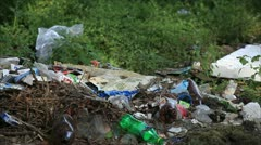 Rubbish dump in the woods Stock Footage