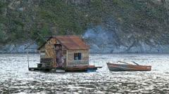 Yukon River fishing houseboat P HD 1448 Stock Footage