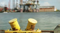 Out of focus oil rig in distance - stock footage