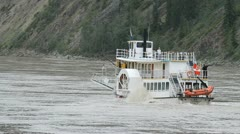 River boat side paddle steamer tour upstream Yukon P HD 1414 Stock Footage