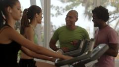 Group of happy friends having fun in fitness club Stock Footage