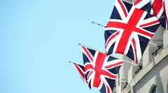 Union Jack blowing in the wind Stock Footage
